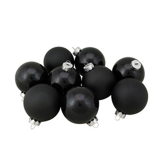 """Link to 9ct Shiny and Matte Black Glass Ball Christmas Ornaments 2.5"""" (65mm) Similar Items in Christmas Decorations"""