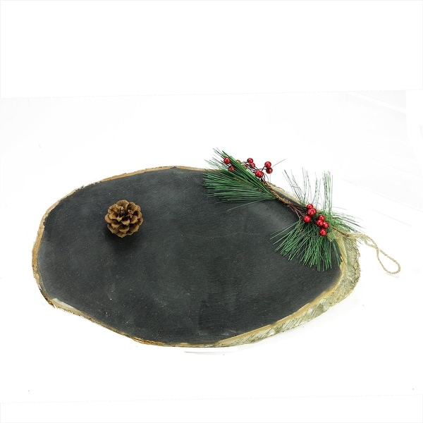 """16"""" Country Rustic Oval Chalkboard on Birch Wood Christmas Decoration - brown"""