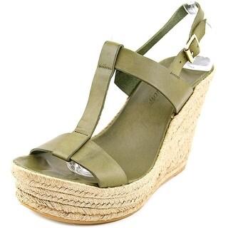 Delman Trish Women Open Toe Leather Green Wedge Sandal
