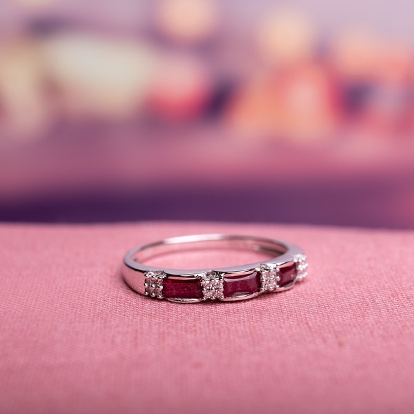 Miadora 10k White Gold Ruby and Diamond Accent Eternity Ring. Opens flyout.