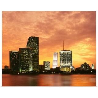 """Miami at sunset"" Poster Print"