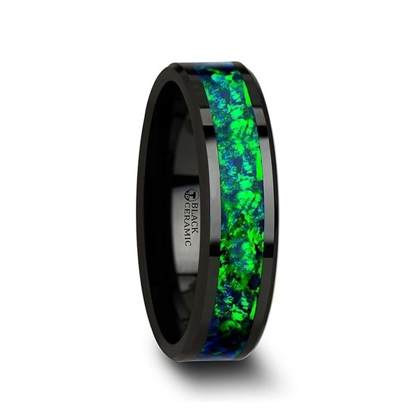 THORSTEN - PULSAR Black Ceramic Wedding Band with Beveled Edges and Emerald Green & Sapphire Blue Color Opal Inlay - 6 mm