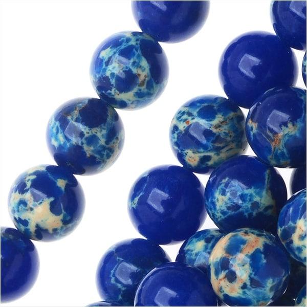 Impression Jasper Gemstone Beads, Round 6mm, 15 Inch Strand, Lapis Blue