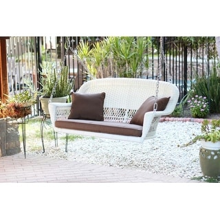 """51.5"""" Hand Woven White Resin Wicker Outdoor Porch Swing with Brown Cushion"""