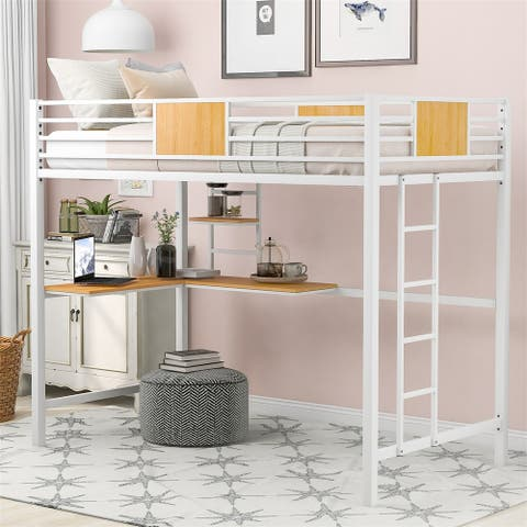 Merax Twin Metal Loft Bed with Desk and Shelf