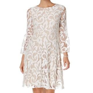 Jessica Howard Beige Women's Size 12P Petite Lace Shift Dress