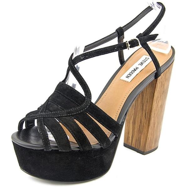 Steve Madden Gingur Women Open Toe Suede Black Platform Sandal