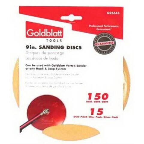 """Goldblatt G25643 Radial Drywall Sanding Disks, 9"""", 150 Grit, 15-Pack"""