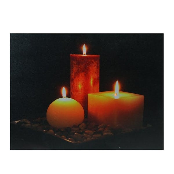 """LED Lighted Tranquil Zen Triple Candles Canvas Wall Art 12"""" x 15.75"""" - N/A"""