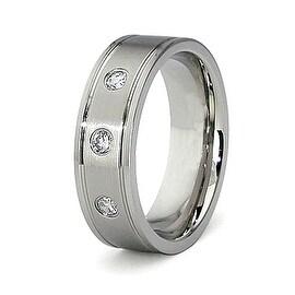 7mm Titanium Ring with 3 Cubic Zirconium (Sizes 8-12)