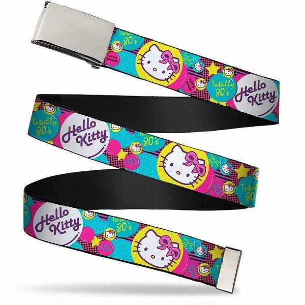 Blank Chrome Bo Buckle Totally 80'S Hello Kitty Bubbles Webbing Web Belt
