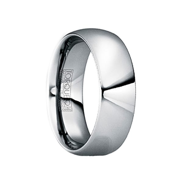 FLAVIANUS Tungsten Carbide Wedding Band with Polished Finish by Crown Ring - 6mm