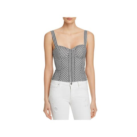 Guess Womens Crop Top Smocked Gingham