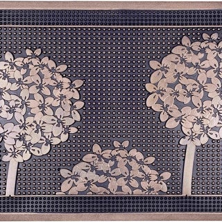 Fab Habitat - Trees Gold Painted Doormat 18 x 30 Rubber, Durable