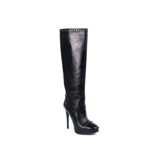 Roberto Cavalli Womens Black Leather Knee High Boots