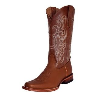 Ferrini Western Boots Mens Cowboy Narrow Square Toe Cognac 12271-02