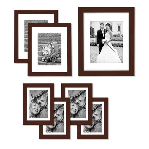 Americanflat Picture Frame in Mahogany Wood -Various Dimensions -Pack of 7