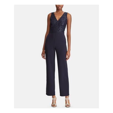 RALPH LAUREN Womens Navy Sleeveless V Neck Evening Jumpsuit Size 8