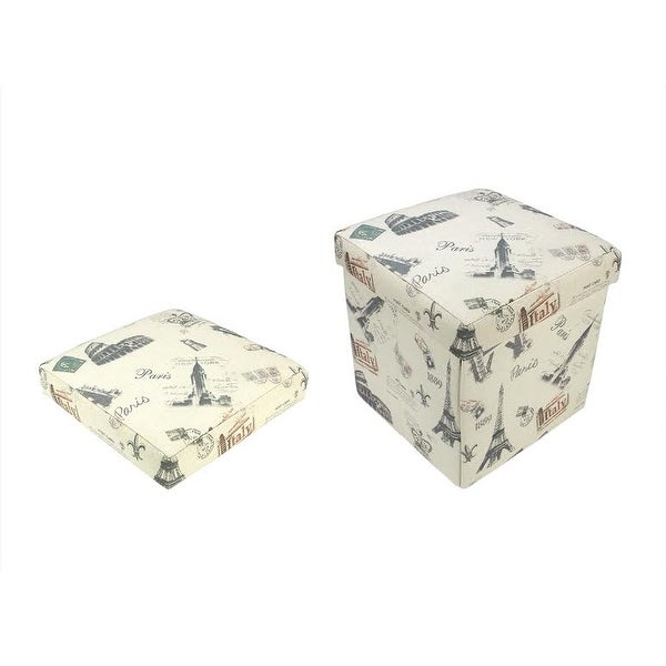 "12"" Decorative Vintage-Style Italy Travel Inspired Collapsible Square Storage Ottoman - N/A"