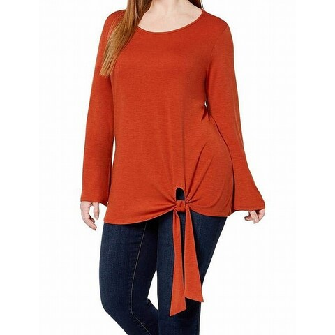 NY Collection Coral Orange Womens Size 3X Plus Tie-Front Knit Top