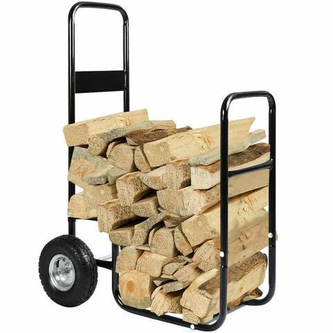 Costway Firewood Carrier Log Wood Mover Hauler Fire Rack Caddy Cart