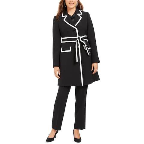 Le Suit Womens Pant Suit Contrast Trim 2PC - Black/Vanilla Ice - 4