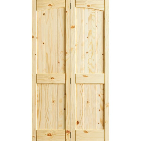 Frameport Kpn Bi Nr4p 6 2 3x2 H Knotty Pine 24 By 80 Rebated 4 Panel Arch Top Interior Fold Door With Installation Hardware Free Shipping Today