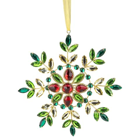 6.5-Inch Green and Red Gem Stone Snowflake Christmas Ornament