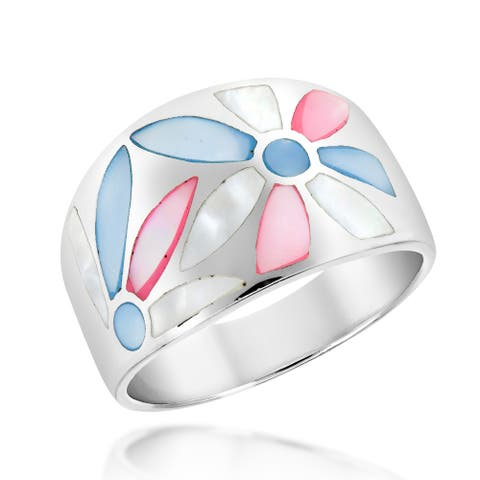 Sweet Floral Multicolored Mother of Pearl Shell Wide Sterling Silver Band Ring (Thailand)