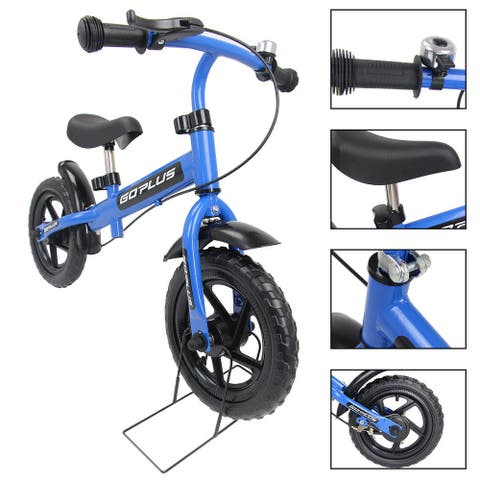 Goplus 12'' Blue Kids Balance Bike Children Boys & Girls with Brakes