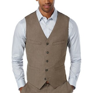 Perry Ellis Slim Fit Vest Chinchilla Brown Medium M Travel Luxe Button Front