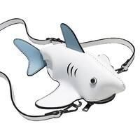 QZUnique Women Cartoon 3D Shark Animal Design Crossbody Messenger Bag Zipper Shoulder Handbag Purse