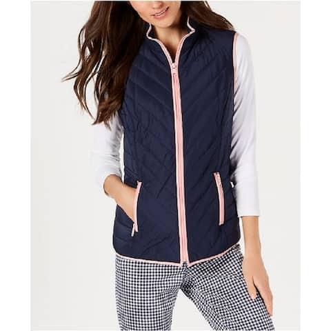 Charter Club Women's Contrast-Trim Zip-Front Vest Intrepid Blue Size Medium - Navy