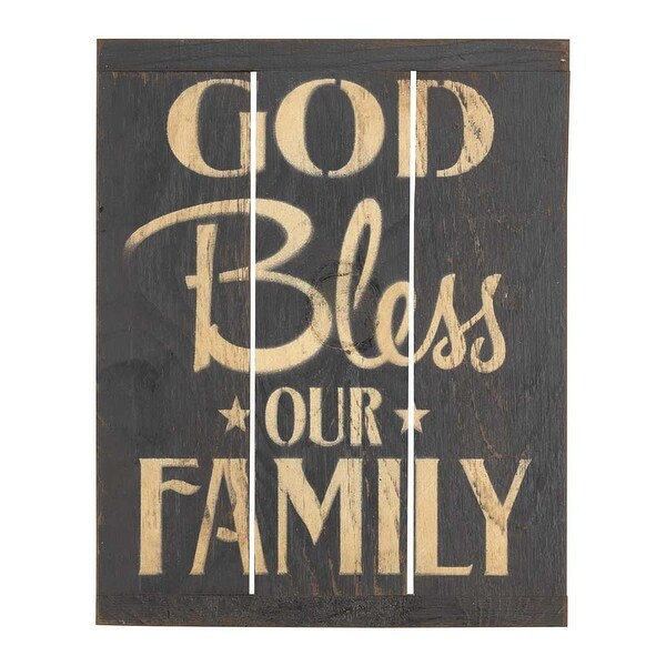 """13.25"""" Black and Beige """"GOD Bless OUR FAMILY"""" Printed Wall Plaque - N/A"""