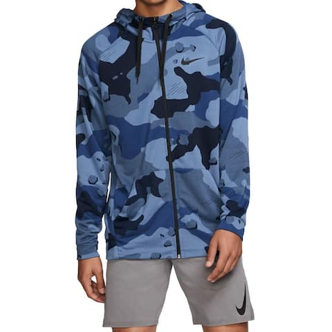 Nike Mens Sweater Blue Night Size XL Zip Front Camo Dri Fit Hooded