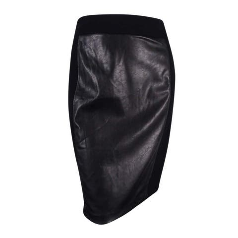 INC International Concepts Women's Faux-Leather-Front Pencil Skirt - Black