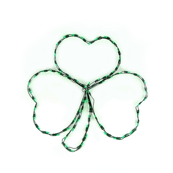 "29"" LED Lighted Irish St. Patrick's Day Shamrock Window Silhouette Decoration"