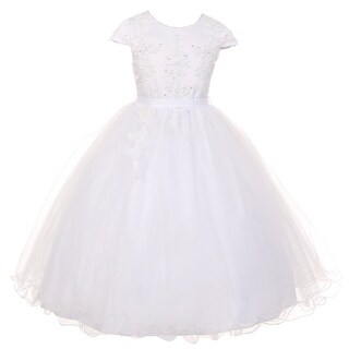 Rain Kids Girls White Pearl Sequin Tulle Communion Flower Girl Dress