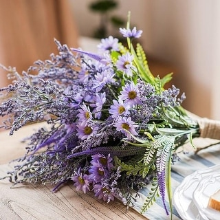 "RusticReach Artificial Flower Bouquet Purple Country Flowers 20"" Tall"