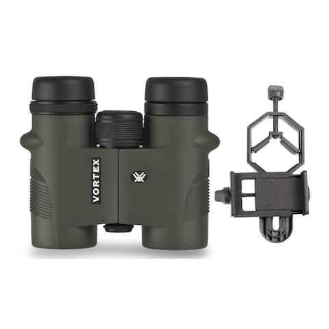 Vortex Diamondback 10x32 Binoculars with Smartphone Adapter Bundle