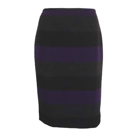Tahari Women's Petite Striped Vented Pencil Skirt