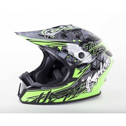 Cyclone ATV MX Motocross Dirt Bike Off-Road Helmet DOT/ECE Approved- Green