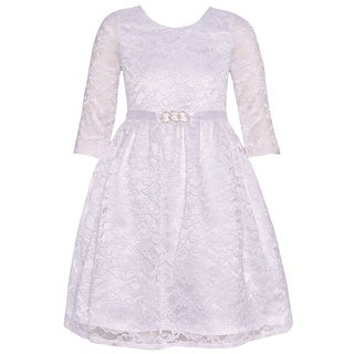 b8e57de14e Shop Chantilly Place Girls Ivory Brooch Lace Overlaid Long Sleeved Dress -  Free Shipping On Orders Over  45 - Overstock - 19292380