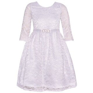 Chantilly Place Girls Ivory Brooch Lace Overlaid Long Sleeved Dress