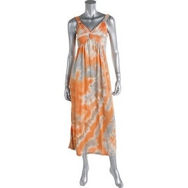 Spense Womens Petites Tie-Dye Knot-Front Maxi Dress - pp