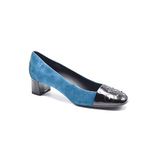 Tods Blue Suede Perforated Leather Cap Toe Low Pumps