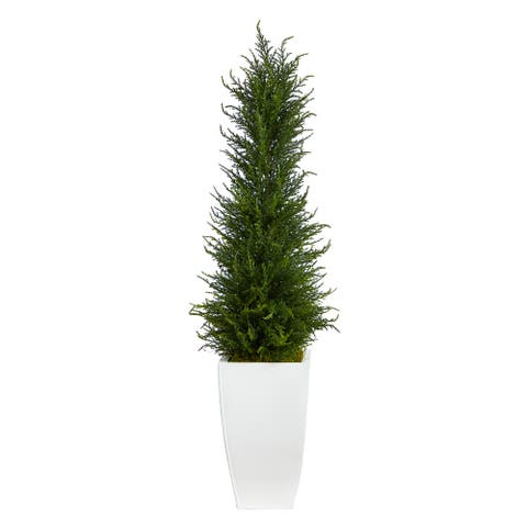 """3.5' Cypress Artificial Tree in White Metal Planter - 13"""""""