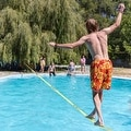 Driftsun Sports Slackline Complete Kit - 50FT Classic Slacklining Line with Training Line and Tree Guards - Thumbnail 3
