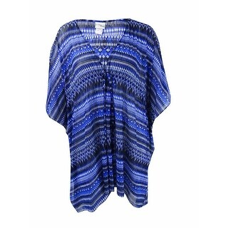 Profile by Gottex Women's Plus Size Drawstring Cover-Up - Blue Multi