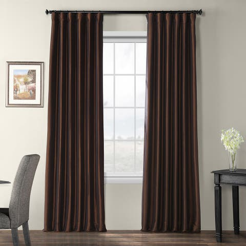 Faux Silk Taffeta Solid Blackout Single Curtain Panel